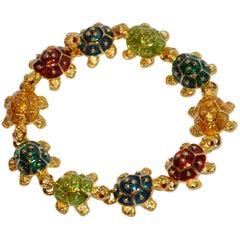 "Kenneth Jay Lane Whimsical Multi-Color Multi-Enamel ""Turtles"" Bracelet"