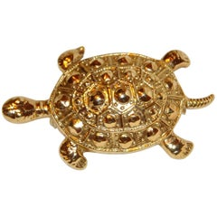 "Whimsical Polished gilded gold hardware with detailed etching ""Turtle"" Brooch"