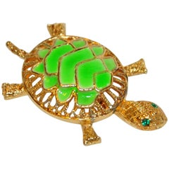 "Whimsical Gilded Gold Hardware with Enamel ""Turtle"" Brooch"