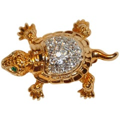 "Van Dell Gilded Gold Hardware with Faux Diamond ""Turtle"" Brooch"