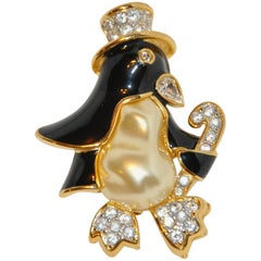 "Kenneth Jay Lane Whimsical ""Penguin with Top Hat"" Brooch"
