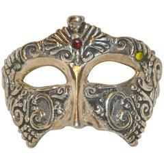 """Vintage 925 Sterling """"Masquerade Mask"""" Pendant"""