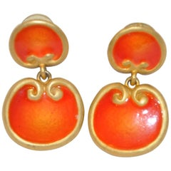 Gilded Gold Vermeil Hardware with Tangerine Enamel Earrings