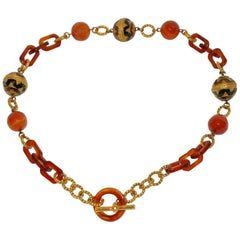Elegant Multi Textured Enamel & Glass with Lucite necklace