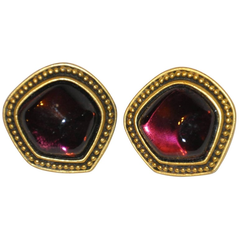 Yves Saint Laurent Plum Pour Glass with Gold Hardware Earrings For Sale
