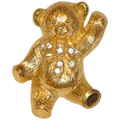 """Large Whimsical Polished Gilded Gold Vermeil """"Teddy"""" Brooch & Pendant"""