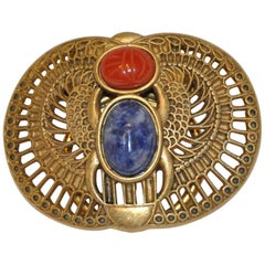 "Mary McFadden Gilded Gold Hardware Detailed ""Scarab"" Clip On Brooch"