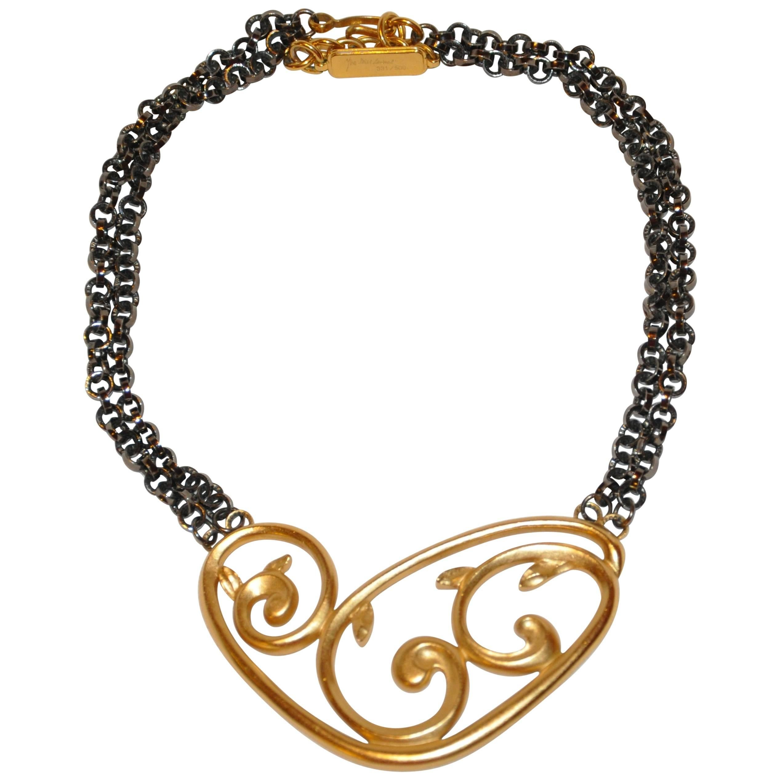 Saint Laurent Yellow Lucite With Gold Etched heart Mirror 0yF7B