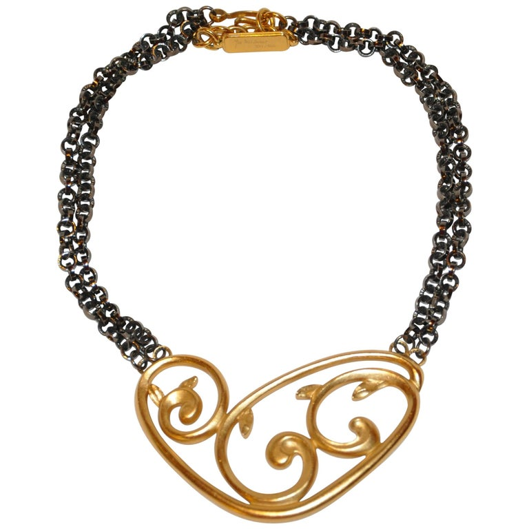 "Yves Saint Laurent ""Limited Edition"" 331/500 Gilded Gold Vermeil Necklace For Sale"
