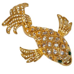 """Magnificent Huge """"Lucky Koi Fish"""" with Faux Diamonds Brooch"""
