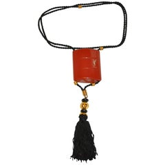 "Yves Saint Laurent Signature""Opium"" Perfume Holder Necklace with Silk Tassle"