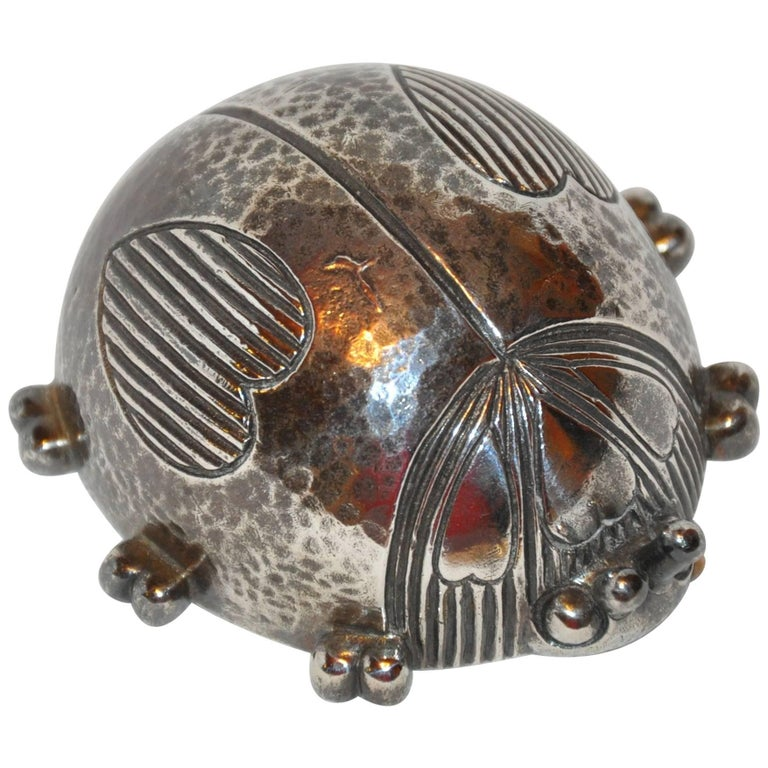 """Reed & Barton Sterling Silver Plated """"Lady Bug"""" Musical Wind-Up  For Sale"""