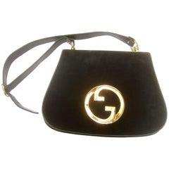 Gucci Italy Rare Midnight Blue Doeskin Suede Blondie Shoulder Bag c 1970s