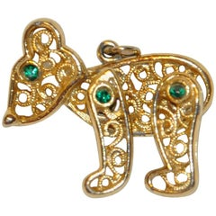 "Whimsical Gilded Gold Hardware Moveable ""Teddy"" Pendant"
