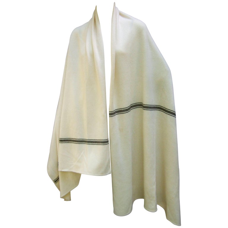 Calvin Klein Luxurious Cashmere Ivory Striped Shawl Wrap c 1970s