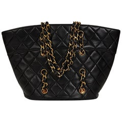 1990s Chanel Black Quilted Lambskin Vintage Bucket Bag