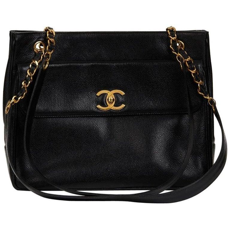 1990s Chanel Black Caviar Leather Vintage Timeless Shoulder Bag For Sale