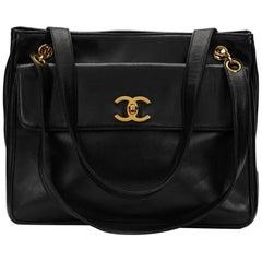 1990s Chanel Black Lambskin Leather Vintage Timeless Shoulder Bag