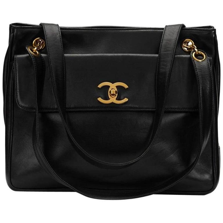 1990s Chanel Black Lambskin Leather Vintage Timeless Shoulder Bag For Sale b0868b7668ab6