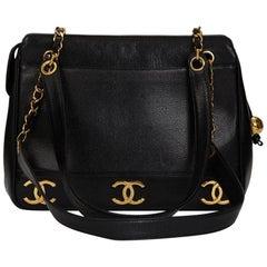 1990s Chanel Black Caviar Leather Vintage Timeless Shoulder Bag