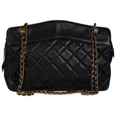 1990s Chanel Black Quilted Lambskin Vintage Jumbo Timeless Shoulder Baguh
