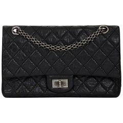 2000s Chanel Black Quilted Aged Calfskin 2.55 Reissue 225 Double Flap Bag