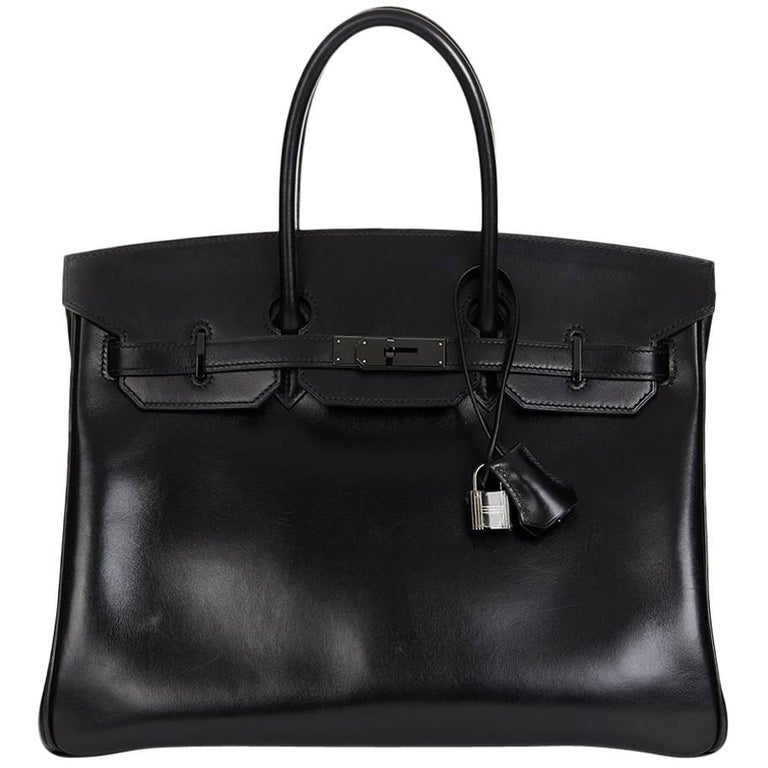 2010 Hermes Black Box Calf Leather SO Black Birkin 35cm For Sale