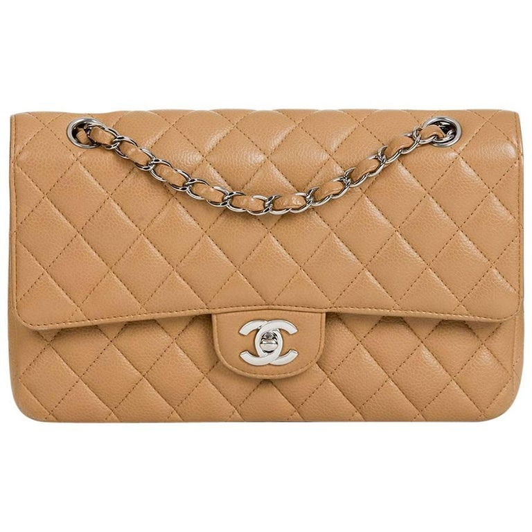 2000s Chanel Mocha Quilted Caviar Leather Small Classic Double Flap Bag