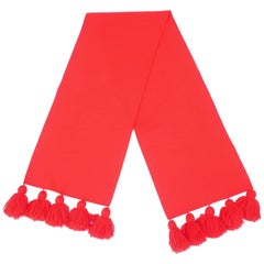 Eye Popping 1960's Neon Red Wool Scarf With Pom Pom Fringe