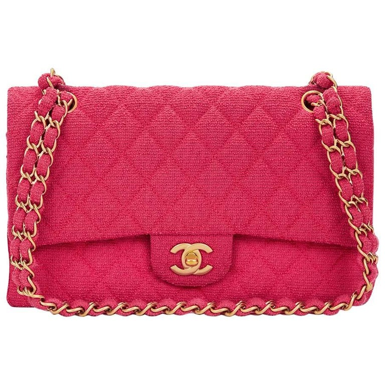 2000s Chanel Fuchsia Quilted Bouclé Fabric Medium Classic Double Flap Bag