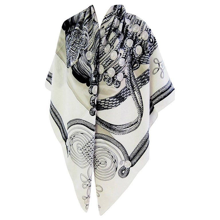 Hermes Brandebourgs Black White Putty Grey Giant Scarf Cashmere Silk Shawl 1