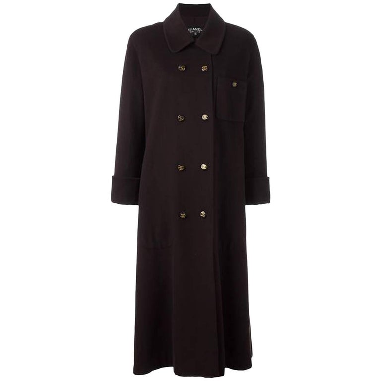 Chanel Cashmere Chocolate Long Double Breasted Overcoat