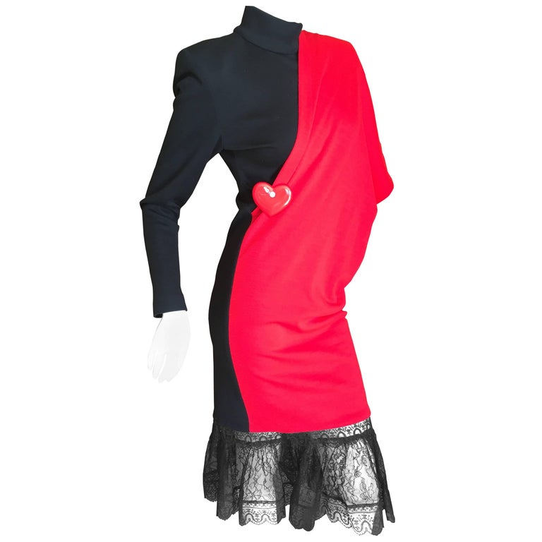 Patrick Kelly Paris Vintage Black Dress with Heart Charm and Red Sash Cape For Sale