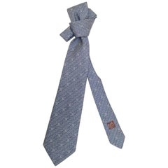 Men's Hermes Vintage Necktie Paisley Pattern in Slate Blue - 62 Inches Long