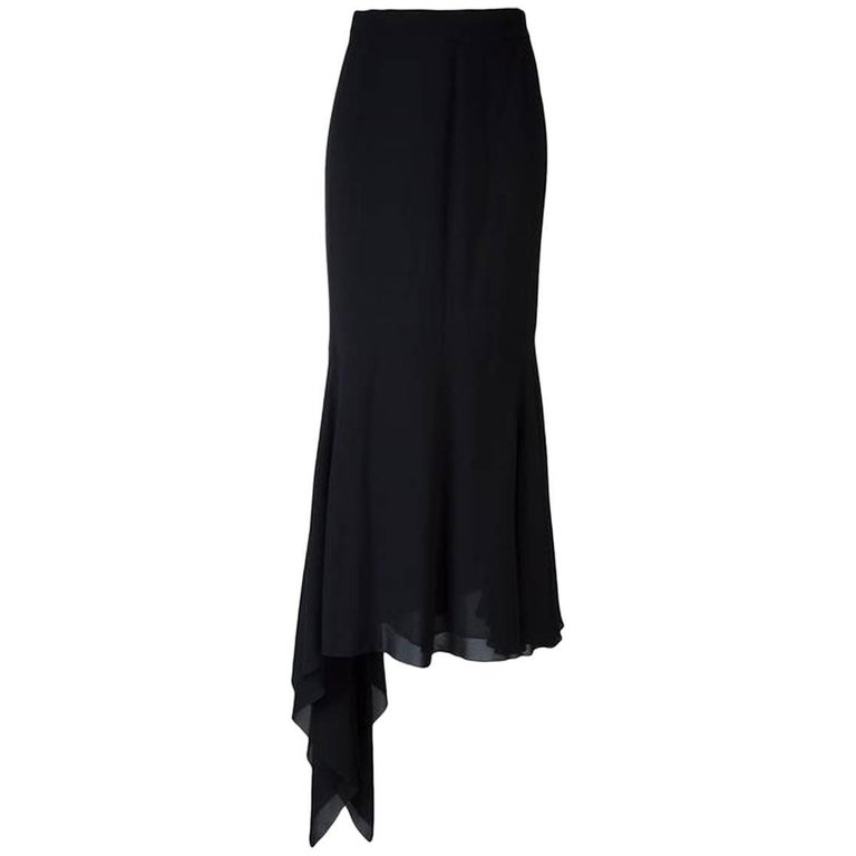 Chanel Dark Navy Silk Long Skirt
