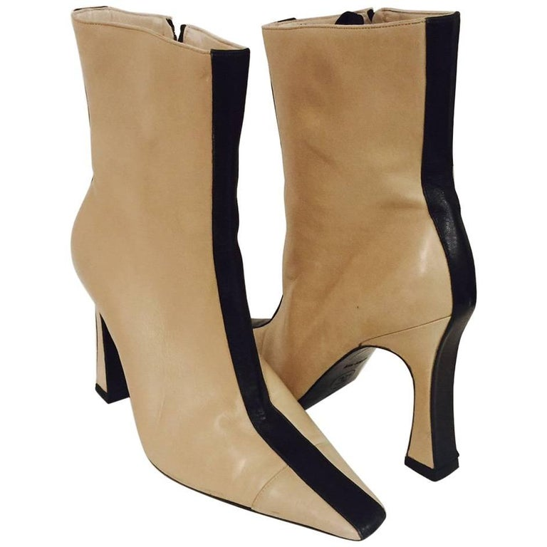 Mod Chanel Black and Tan Ankle Boots With Sculpted Heels and Cap Toes