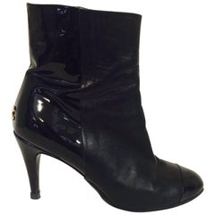 Chanel Black Leather and Patent Ankle Boots With Cap Toes