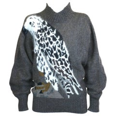 Krizia Ribbed Neck Eagle Sweater