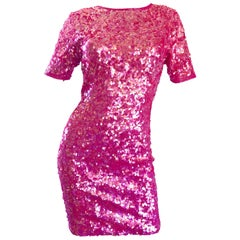 Incredible Vintage Lillie Rubin 1990s Hot Pink Fully Sequined 90s Mini Dress