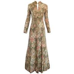 1970s Adele Simpson Baroque Ethnic Print Lurex Boho Print Vintage 70s Maxi Dress