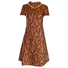 1960s Adele Simspon Brown Rose Gold Copper Silk Brocade Vintage 60s A Line Dress