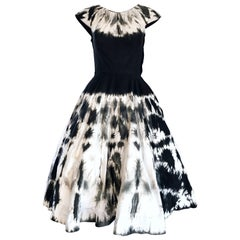 1950s Madalyn Miller 1950s Black and White Tie Dye Cotton Chic Vintage 50s Dress