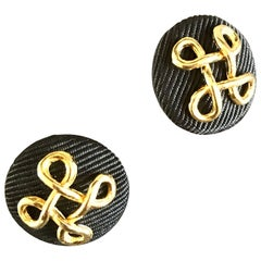Chanel Brand New Vintage 90s Set of Two Silk Grosgrain and Gold Buttons Earrings