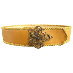 Beautiful Vintage Emanuel Ungaro Marigold Yellow + Gold Leather 90s Flower Belt