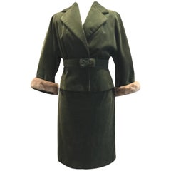Bellman Vintage 1960s Mink Trim Cotton Corduroy Skirt Suit