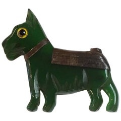 1930s GREEN Bakelite and Laminated Wood Terrier Dog Pin Brooch