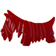 1930s RED Bakelite Scotty Dog Brooch Pin