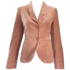 Max Mara 1990s Pink Dusty Rose Vintage Velvet Size 6 90s Blazer Jacket