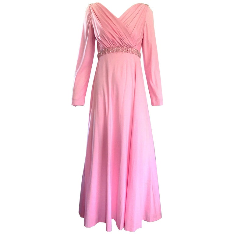 Amazing 1970s Light Pink Grecian Sequined and Beaded Long Sleeve Maxi Dress Gown For Sale