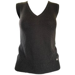 Tom Ford For Gucci Brown and Silver Sleeveless 1990s Vintage 90s Sweater Vest